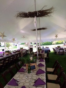 wedding reception tent decorated at combsberry inn md