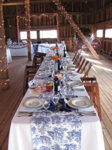 long table all set before wedding reception at combsberry inn barn