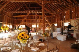 combsberry inn wokers setting up rustic barn for reception