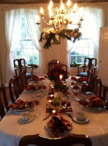 dining table decorated for holiday part at combsberry inn