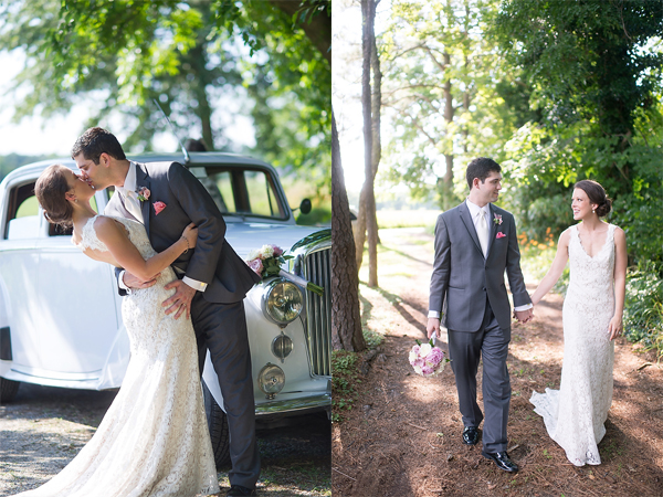 two photos of just married couple by car and walking down path