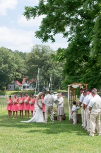 wedding ceremony by oxford river at combsberry inn