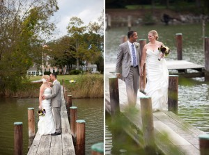 photos of wedding couple kissing on pier and other holding hands on pier