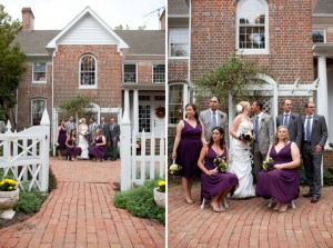 two photos of wedding at combsberry inn of wedding party