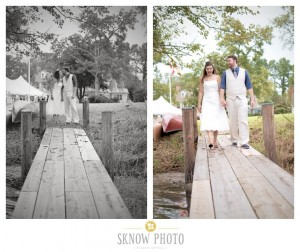 two photos side by side of newly married couple on pier