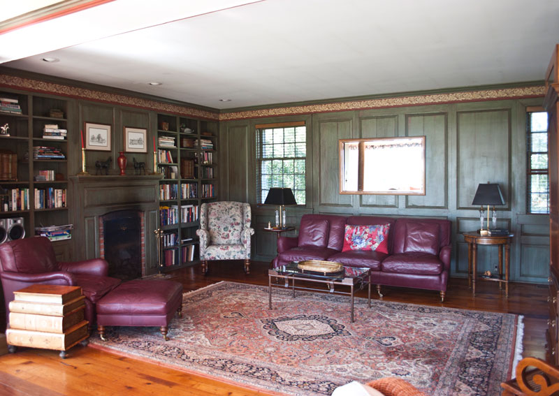 book club room at combsberry inn with couches and bookshelves