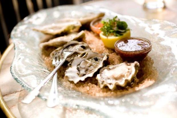 oysters on the halfshell on plate with sauces and cocktail forks