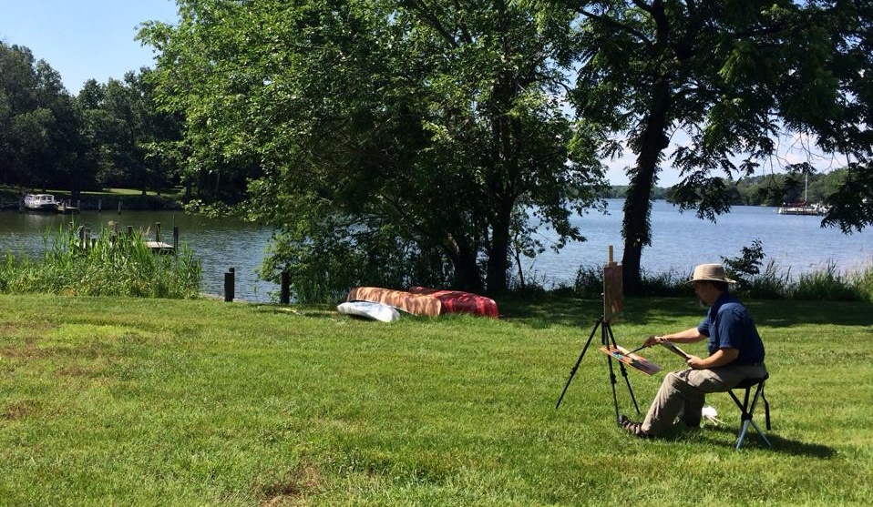 Plein Air Artist painting the Combsberry Inn Oxford MD
