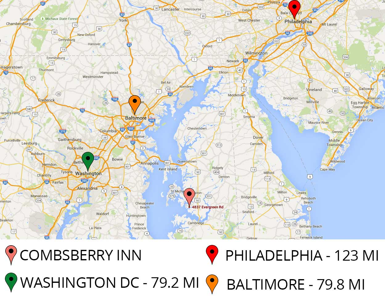 Combsberry Inn is close to Philadelphia, Washington DC, and Baltimore