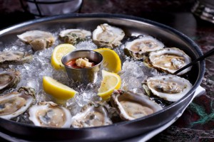 St Michaels MD oysters on half shells over ice with lemon