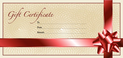 image of blank gift certificate